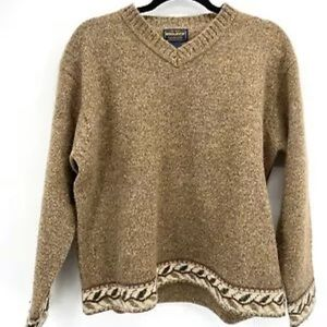 Woolrich Tan Wool Leaf Trim V Neck Sweater